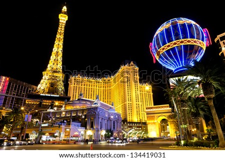 LAS VEGAS - MAR 18: Paris Las Vegas hotel and Casino is shown on March 18, 2013 in Las Vegas, Nevada. The Paris hotel and casino with replica of the Eiffel Tower. - stock photo