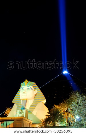 LAS VEGAS - MAR 4: Statue of Sphinx blue beam from Luxor Hotel Casino, among the most recognizable hotels on the popular Vegas strip because of its striking design. March 4, 2010 in Las Vegas, Nevada. - stock photo