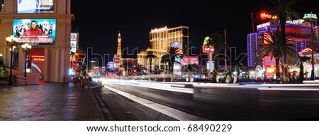 LAS VEGAS - MAR 4: Vegas Strip at night on March 4, 2010 in Las Vegas, Nevada. The Las Vegas Strip is 3.8 mile stretch featured with world class hotels and casino. - stock photo