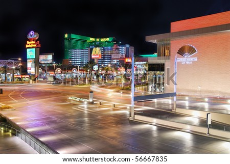 LAS VEGAS - MAR 4: Vegas Strip, 3.8 mile stretch featured with world class hotels and casino, at night on March 4, 2010 in Las Vegas, Nevada. - stock photo