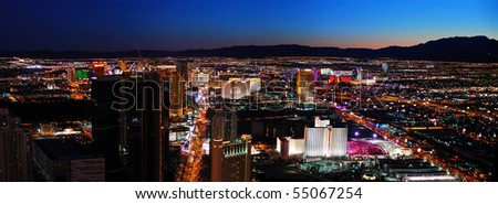 LAS VEGAS - MAR 4: Vegas Strip night aerial panorama, featured with world class hotels and casino on March 4, 2010 in Las Vegas, Nevada. - stock photo