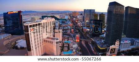 LAS VEGAS - MAR 4: Vegas Strip, the 3.8 mile stretch featured with world class hotels and casino, aerial view on March 4, 2010 in Las Vegas, Nevada. - stock photo