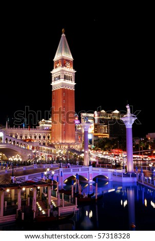 LAS VEGAS - MAR 4: Venetian Hotel Casino on March 4, 2010 in Las Vegas, Nevada. Venetian is famous with Venice replica scene and European style architecture and is filmed in several US movies.