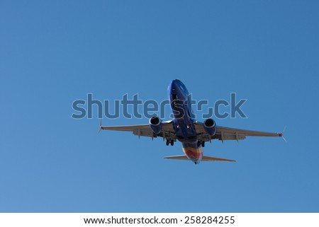 LAS VEGAS - MARCH 3: Aircraft land at McCarran International Airport in the popular travel destination, Las Vegas on March 3, 2015.