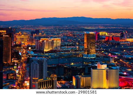 LAS VEGAS - MARCH 31: An aerial view of Las Vegas in shown in this image taken on March 31, 2009 in Las Vegas. - stock photo