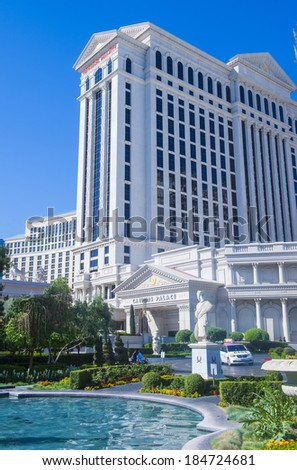 LAS VEGAS - MARCH 25 :The Caesars Palace hotel on March 25, 2014 in Las Vegas. Caesars Palace is a luxury hotel and casino located on the Las Vegas Strip. Caesars has 3,348 rooms in five towers