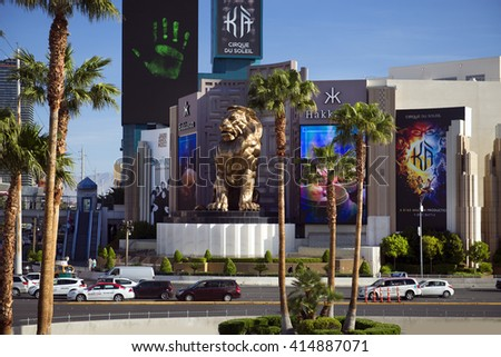 LAS VEGAS - MARCH 21, 2016: The community was founded in May 1905 and incorporated as the city in 1911. First casino was legaized in 1931. Close to Las Vegas Boulevard are the world's largest hotels. - stock photo