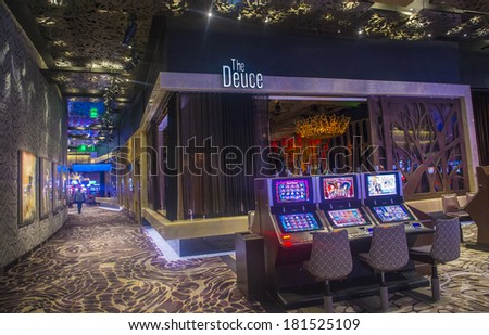 LAS VEGAS - MARCH 10 : The interior of Aria Resort and Casino in Las Vegas on March 10 2014. The Aria was opened on 2009 and is the world's largest hotel to receive LEED Gold certification - stock photo