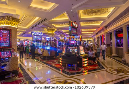 LAS VEGAS - MARCH 15 : The interior of the Venetian Casino in Las Vegas on March 15, 2014. With more than 4000 suites it's one of the most famous hotels in the world. - stock photo