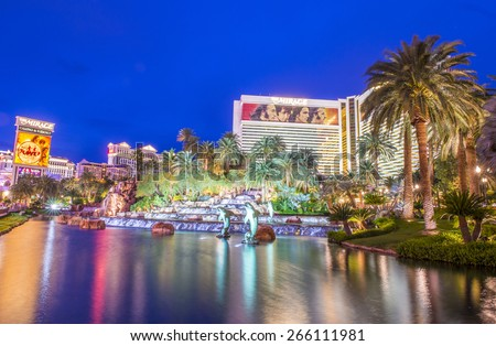 LAS VEGAS - MARCH 18 : The Mirage Hotel in Las Vegas on March 18 2015, The hotel Opened in 1989, and it has 2.884 rooms and a casino with 100,000 square feet of gaming space. - stock photo