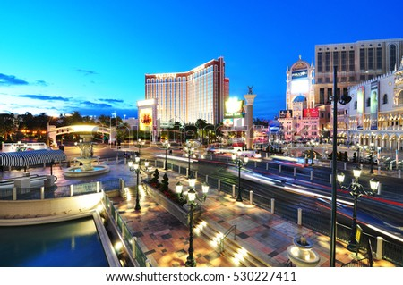 LAS VEGAS - MARCH 19, 2012 : View of the strip in Las Vegas. The Las Vegas Strip is stretch of Las Vegas Boulevard in Nevada.