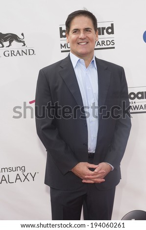 LAS VEGAS - MAY 18 : Businessman Mark Cuban  attend the 2014 Billboard Music Awards at the MGM Grand Garden Arena on May 18 , 2014 in Las Vegas. - stock photo
