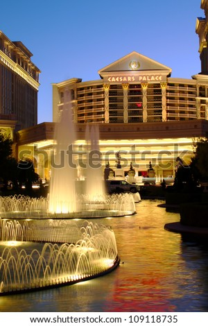 LAS VEGAS - MAY 22: Caesars Palace hotel and casino on May 22, 2012 in Las Vegas.  Caesars Palace opened in the 1960's and has a Roman Empire theme. - stock photo
