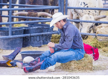 LAS VEGAS - MAY 16 : Cowboy preparing for the Helldorado days Rodeo , A professional rodeo held in Las Vegas, Nevada on May 16 , 2015