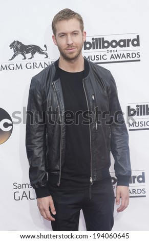 LAS VEGAS - MAY 18 : DJ Calvin Harris attend the 2014 Billboard Music Awards at the MGM Grand Garden Arena on May 18 , 2014 in Las Vegas. - stock photo