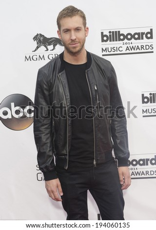 LAS VEGAS - MAY 18 : DJ Calvin Harris attends the 2014 Billboard Music Awards at the MGM Grand Garden Arena on May 18 , 2014 in Las Vegas. - stock photo
