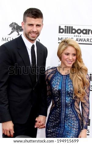 LAS VEGAS - MAY 18:  Gerard Pique, Shakira at the 2014 Billboard Awards at MGM Grand Garden Arena on May 18, 2014 in Las Vegas, NV - stock photo
