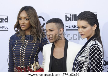 LAS VEGAS - MAY 17:  Jourdan Dunn, Olivier Rousteing, Kendall Jenner at the Billboard Music Awards 2015 at the MGM Garden Arena on May 17, 2015 in Las Vegas, NV - stock photo
