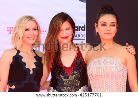 LAS VEGAS - MAY 22:  Kristen Bell, Kathryn Hahn, Mila Kunis at the Billboard Music Awards 2016 at the T-Mobile Arena on May 22, 2016 in Las Vegas, NV - stock photo