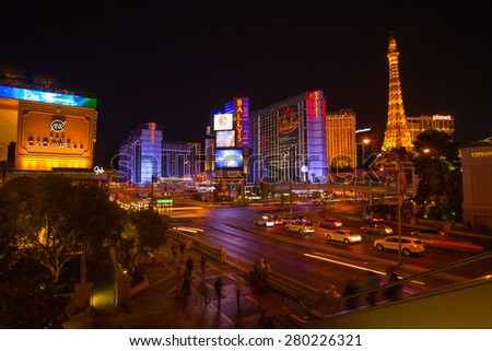 LAS VEGAS - MAY 12 : Las Vegas strip road at night View of the strip on May 12, 2015 - stock photo