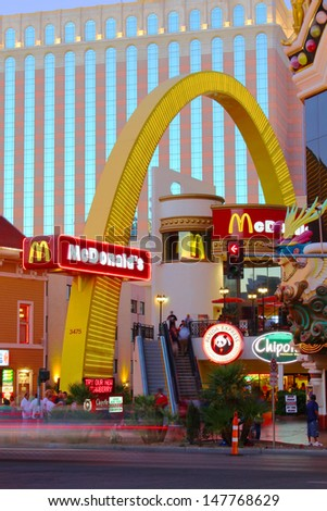 LAS VEGAS - MAY 22: McDonald's Restaurant near the Venetian on May 22, 2012 in Las Vegas.  The McDonald's company originated in the 1940's and has expanded to over 30,000 locations worldwide.
