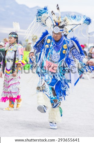 LAS VEGAS - MAY 24 : Native American man takes part at the 26th Annual Paiute Tribe Pow Wow on May 24 , 2015 in Las Vegas Nevada. Pow wow is native American cultural gathernig event. - stock photo
