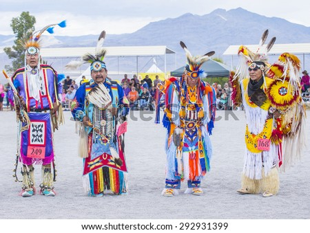LAS VEGAS - MAY 24 : Native American men takes part at the 26th Annual Paiute Tribe Pow Wow on May 24 , 2015 in Las Vegas Nevada. Pow wow is native American cultural gathernig event. - stock photo