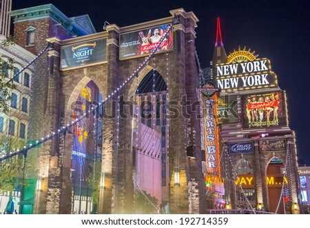 LAS VEGAS - MAY 12 : New York-New York Hotel & Casino in Las Vegas on May 12 2014; This hotel simulates the real New York City skyline and It was opened in 1997. - stock photo