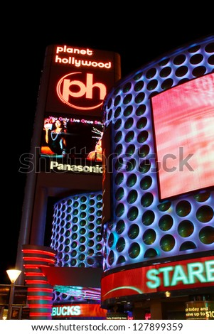 LAS VEGAS - MAY 22: Planet Hollywood Resort and Casino on May 22, 2012 in Las Vegas.  Planet Hollywood has over 2,500 rooms available and is located on Las Vegas Boulevard. - stock photo