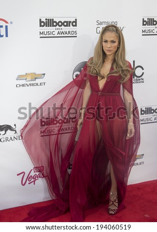 LAS VEGAS - MAY 18 : Recording artist Jennifer Lopez attend the 2014 Billboard Music Awards at the MGM Grand Garden Arena on May 18 , 2014 in Las Vegas. - stock photo