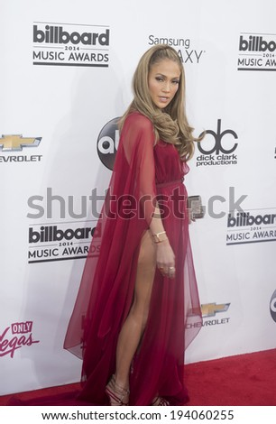 LAS VEGAS - MAY 18 : Recording artist Jennifer Lopez attends the 2014 Billboard Music Awards at the MGM Grand Garden Arena on May 18 , 2014 in Las Vegas. - stock photo