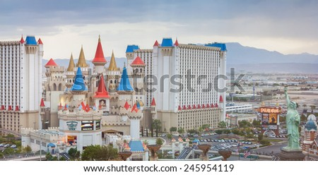 LAS VEGAS - MAY 13: The Excalibur hotel and Casino is shown on May 13, 2008 in Las Vegas, Nevada USA. The Excalibur opened on June 19, 1990 - stock photo