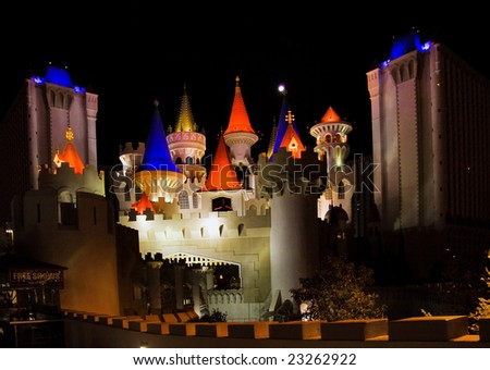 LAS VEGAS – MAY 2: The Excalibur Hotel & Casino is shown in this image taken at night on May 2, 2007 in Vegas. The hotel cost approximately $290 million and opened to the public in 1990. - stock photo