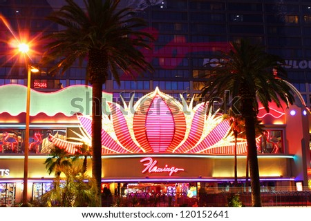 LAS VEGAS - MAY 22: The Flamingo Las Vegas on May 22, 2012 in Las Vegas. The Flamingo has an art deco theme and opened in 1946. - stock photo