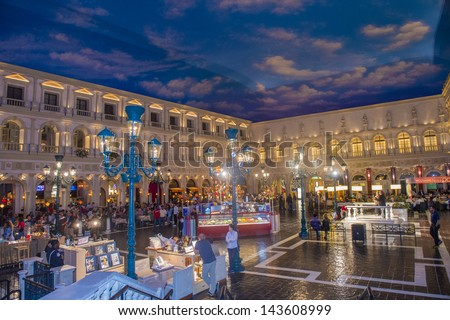 LAS VEGAS -MAY 07 : The interior of the Venetian hotel & Casino in Las Vegas on May 07, 2013. With more than 4000 suites it's one of the most famous hotels in the world. - stock photo