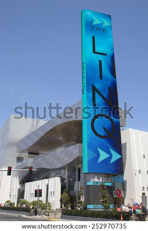 LAS VEGAS - MAY 9, 2014 -The LINQ Sign in Las Vegas. The LINQ is the open-air shopping and dining area leading up to The High Roller Wheel the world's largest observation wheel