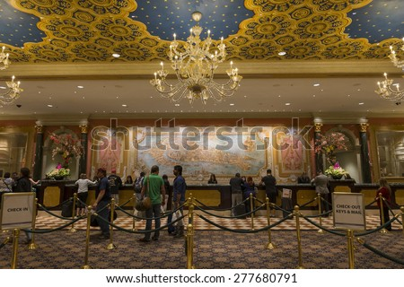 LAS VEGAS - MAY 7, 2015 - The Venetian - Palazzo have a combined 4,049 rooms and 3068 suites.