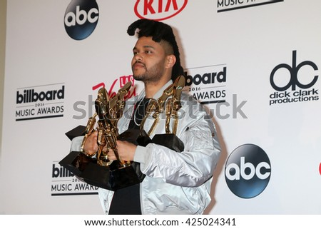 LAS VEGAS - MAY 22:  The Weeknd at the Billboard Music Awards 2016 at the T-Mobile Arena on May 22, 2016 in Las Vegas, NV - stock photo