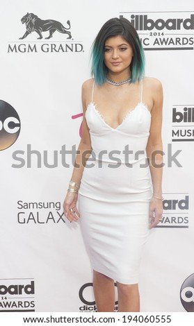 LAS VEGAS - MAY 18 : TV personality Kylie Jenner attend the 2014 Billboard Music Awards at the MGM Grand Garden Arena on May 18 , 2014 in Las Vegas. - stock photo