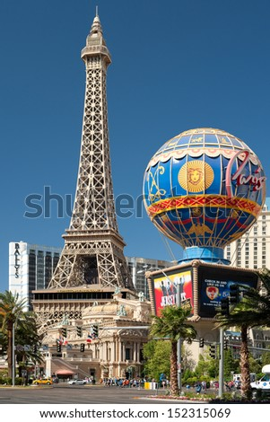 LAS VEGAS - MAY 24: View of Eiffel Tower on May 24, 2013 in Las Vegas. This is the biggest copy of the Eiffel tower and its height is 170 meters - stock photo