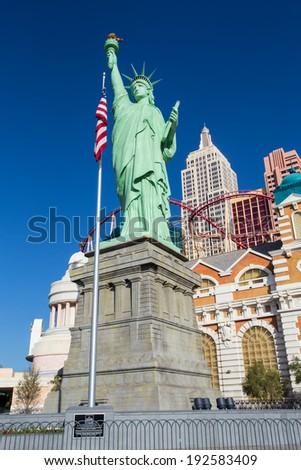 LAS VEGAS - MAY 8, 2014: View of New York - New York Hotel and Casino seen from Las Vegas Boulevard.  This landmark resort opening in 1997. - stock photo