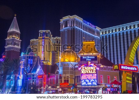 LAS VEGAS - MAY 25 : View of the strip on May 25 , 2014 in Las Vegas. The Las Vegas Strip is an approximately 4.2-mile (6.8 km) stretch of Las Vegas Boulevard in Clark County, Nevada. - stock photo