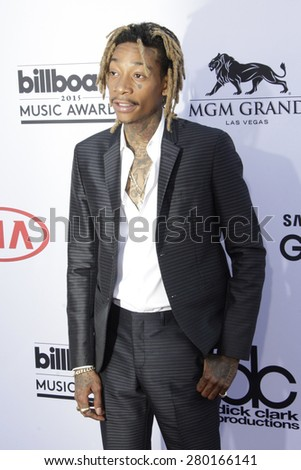 LAS VEGAS - MAY 17: Wiz Khalifa at the 2015 Billboard Music Awards at the MGM Grand Garden Arena on May 17, 2015 in Las Vegas, Nevada. - stock photo