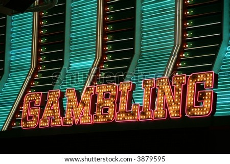 Las Vegas Neon Gambling Marquee from Downtown - stock photo