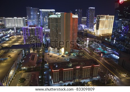 LAS VEGAS, NEVADA - AUG 15:  Las Vegas Convention Authority says the city's 147,611 hotel rooms have a occupancy of 84% with a average daily rate of $106  on August 15, 2011 in Las Vegas, Nevada. - stock photo