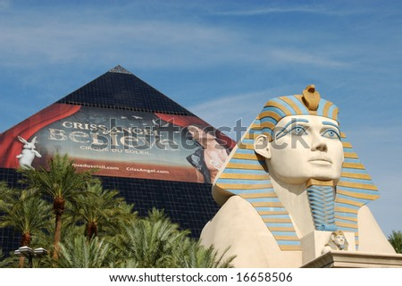 Las Vegas, Nevada - 05 August 2008 - Luxor Las Vegas hotel and casino; one of the city's first fully-themed mega-resorts. - stock photo