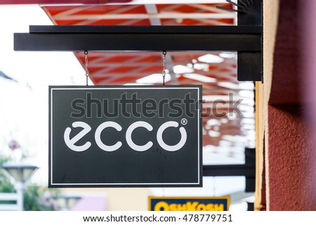 LAS VEGAS, NEVADA - August 22nd, 2016: Ecco Logo On Store Front Sign.