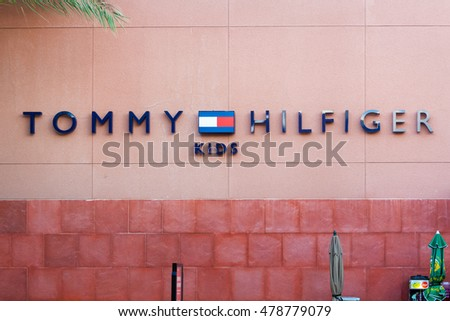 LAS VEGAS, NEVADA - August 22nd, 2016: Tommy Hilfiger Kids Logo On Store Front Sign.