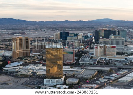 Las Vegas Nevada - December 14 : Aerial view of the famous Las Vegas Strip, view from the north end, December 14 2014 in Las Vegas, Nevada