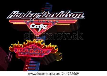 Las Vegas Nevada - December 18 : glowing neon sign for the Harley Davidson Cafe, December 18 2014 in Las Vegas, Nevada - stock photo